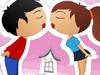 小情侣偷偷接吻